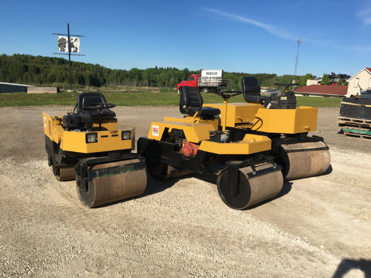 paving equipment on a commercial job site