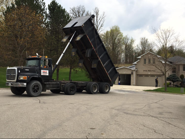 getting ready to dump asphalt for a new driveway